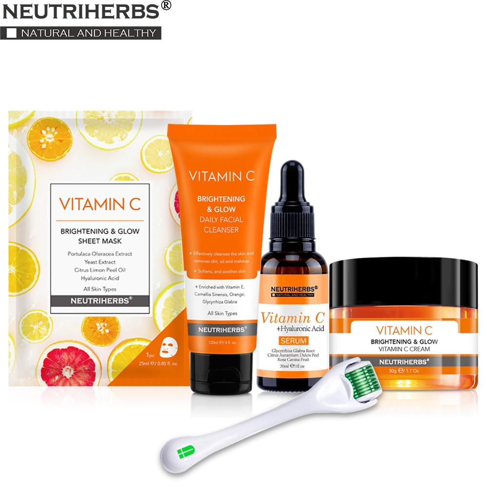Neutriherbs Vitamin C Face Mask Set with Vitamin C Cleanser + Derma Roller + Serum + Mask + Day Cream 5 in 1