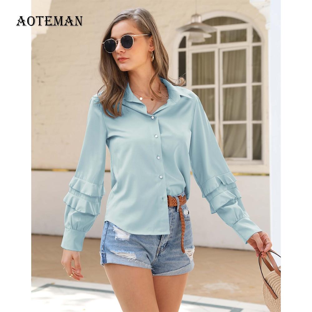 Spring Summer Womens Shirt 2020 Casual Elegant Solid Office Shirts Women Ruffless Shirt Female Blusas Tops Lady Mujer De Moda