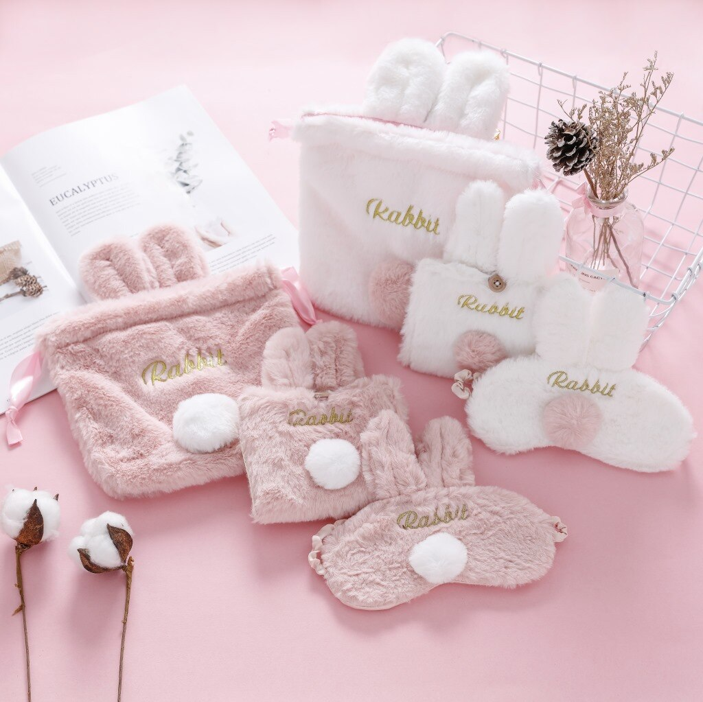 Bolso de moda para mujeres y niñas, conejo de peluche, con cordón, bolsa para cosméticos, maquillaje, venda de ojos, Kawaii, bolsa de almacenamiento, monedero, bolsa para teléfono