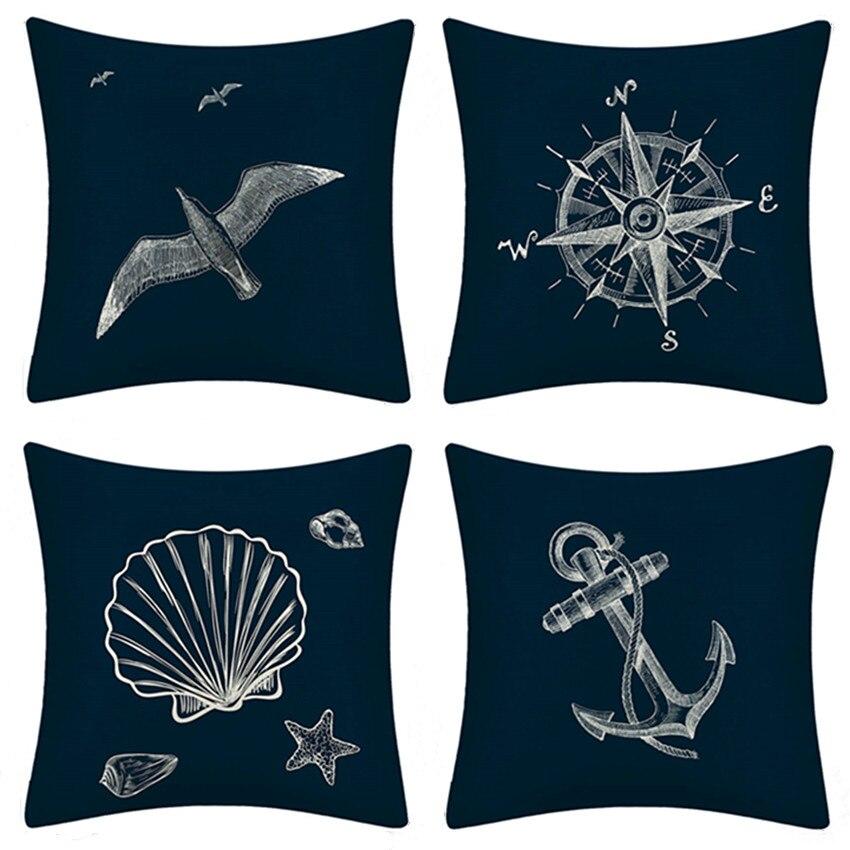 Навигационный чехол для подушки, домашний декор, средиземноморская наволочка для подушки с морским кораблем, наволочка для подушки