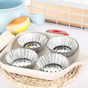 10pcs Egg Tart Mold Reusable Baking Cup for Cupcake Cookie Dessert Bakeware