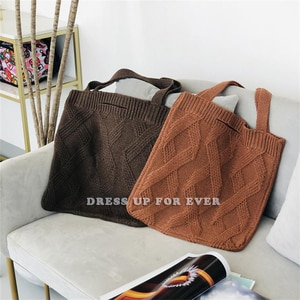 Woolen Knitted Braid Criss Cross Handbag Dual-use Clutch Shoulder Bag Crochet Winter Korean Female Retro Chic Large Capacity Bag