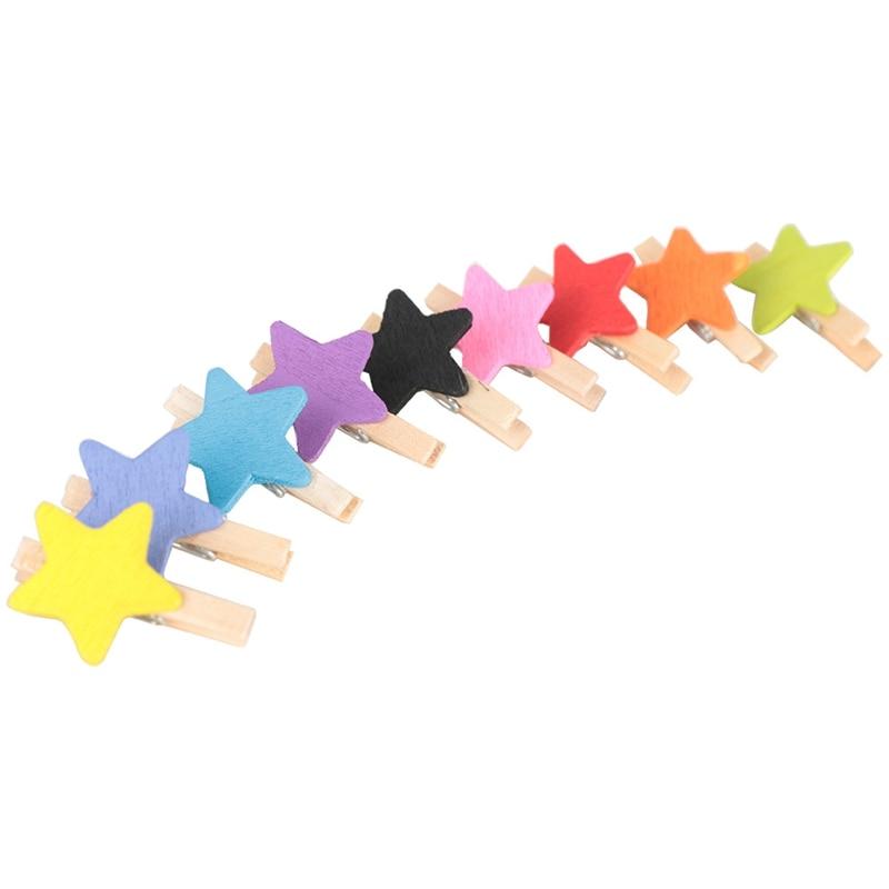 50 piezas Mini artesanía de madera Color estrella ropa colgar Tarjeta Nota fotográfica Clip Clothespin Color mezclado