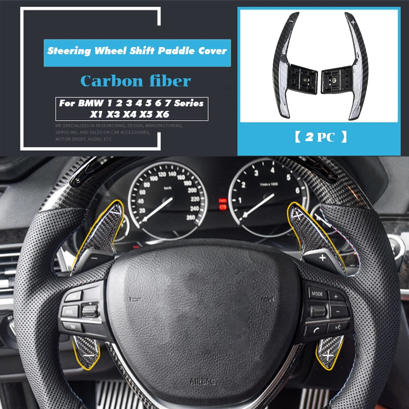 Para BMW 1, 2, 3, 4, 5, 6, 7 Series, X1, X3, X4, X5, X6, accesorios de fibra de carbono para coche, cubierta de paleta de cambio de volante, ribete adhesivo para marco