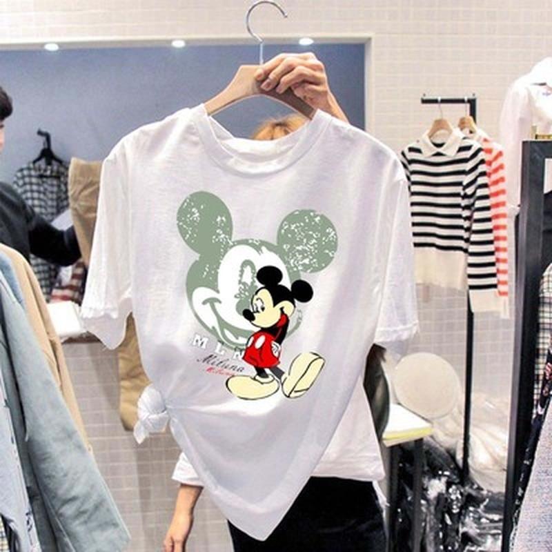 Tshirt Women White Cartoon Print Loose Sweet Cute Summer Shirts Short Sleeve Harajuku Casual Plus Size Tops Hot Sale Tee Shirts