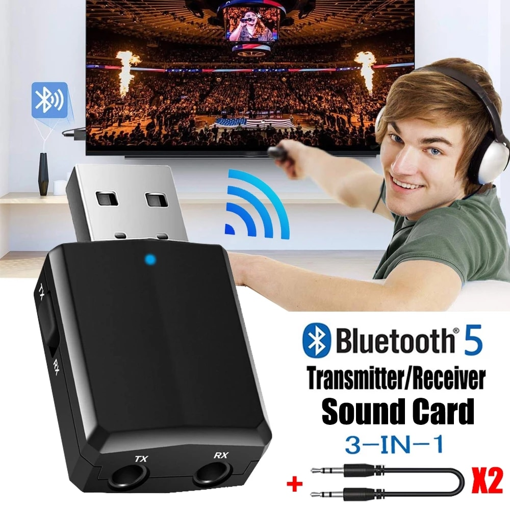 USB Bluetooth 5.0 Transmitter Receiver 3 in 1 EDR Adapter Dongle 3.5mm AUX for TV PC Headphones Home Stereo Car HIFI Audio