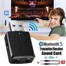 Receptor y transmisor con Bluetooth 5,0, adaptador Dongle 3 en 1 EDR de 3,5mm, AUX, para TV, PC, auriculares, Audio estéreo para el hogar y el coche, HIFI