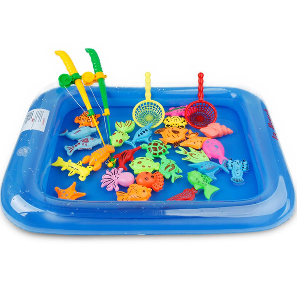 Плавающая рыболовная игра, Детские Игрушки для ванны, рыболовные магнитные игрушки, надувной бассейн, ванна, набор игрушек для раннего разв...