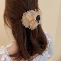 korean elegant hair claws for girls shark catch clip temperament flannel lace flower headwear women 2021 new hair accessories