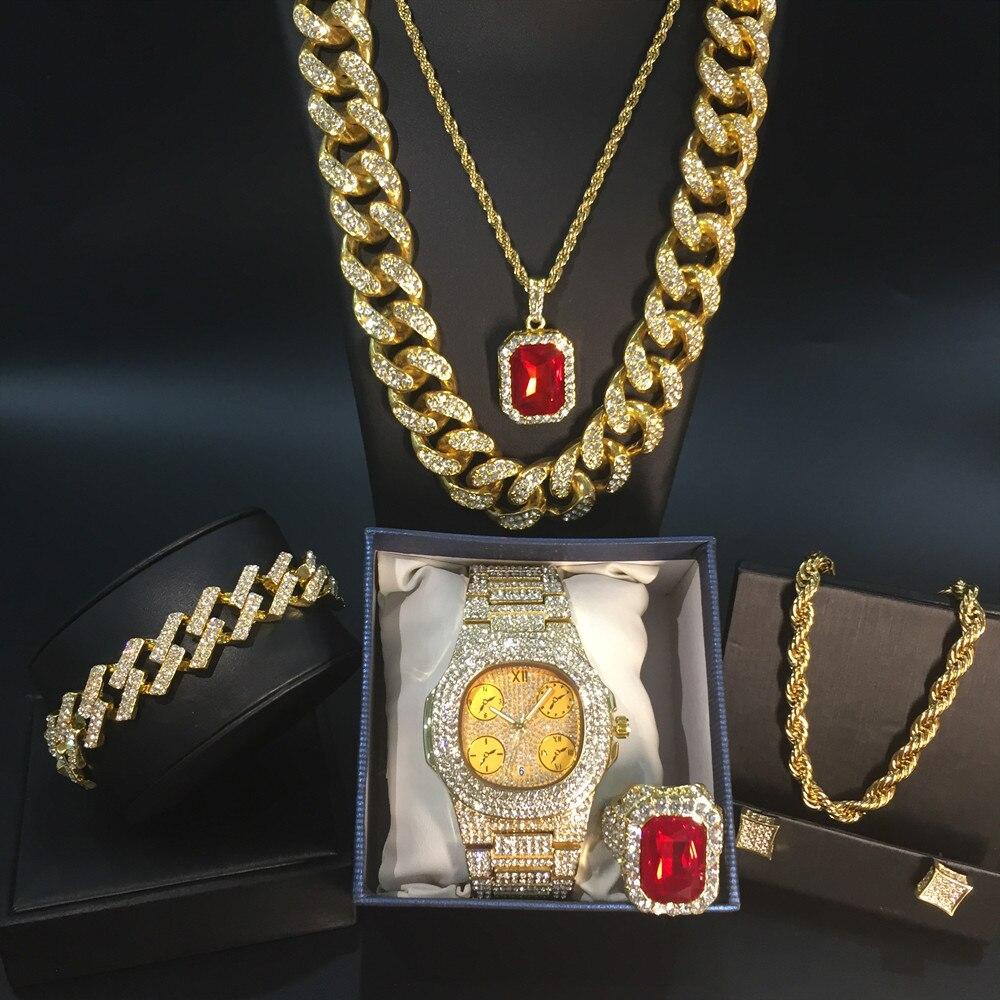 ساعة فاخرة للرجال ، لون ذهبي ، عقد وسوار وخواتم كومبو ، على الطراز الكوبي ، عقد وسلسلة هيب هوب