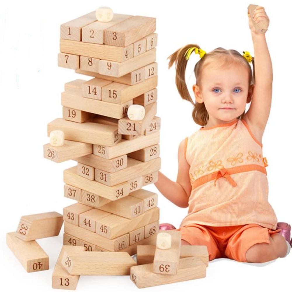 51 шт. Буковые деревянные строительные блоки игрушка Дети свалили удовольствие развитие интеллекта игра строительные блоки игрушка