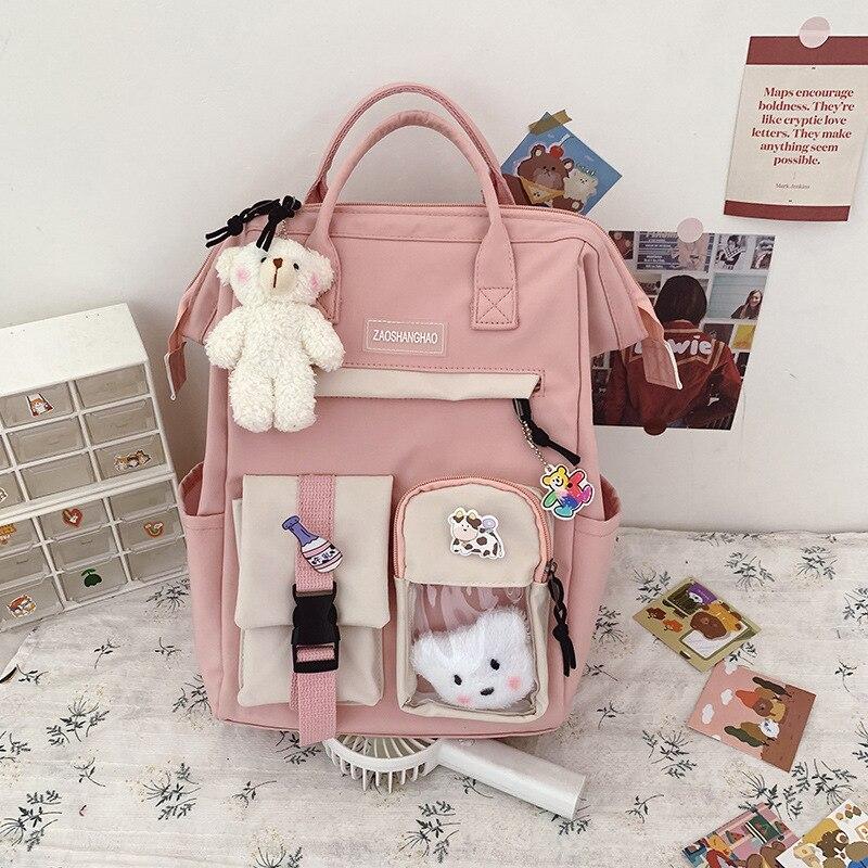 Новый рюкзак в стиле преппи, женские водонепроницаемые Рюкзаки карамельных цветов, необычные школьные ранцы для девочек-подростков, милые ...