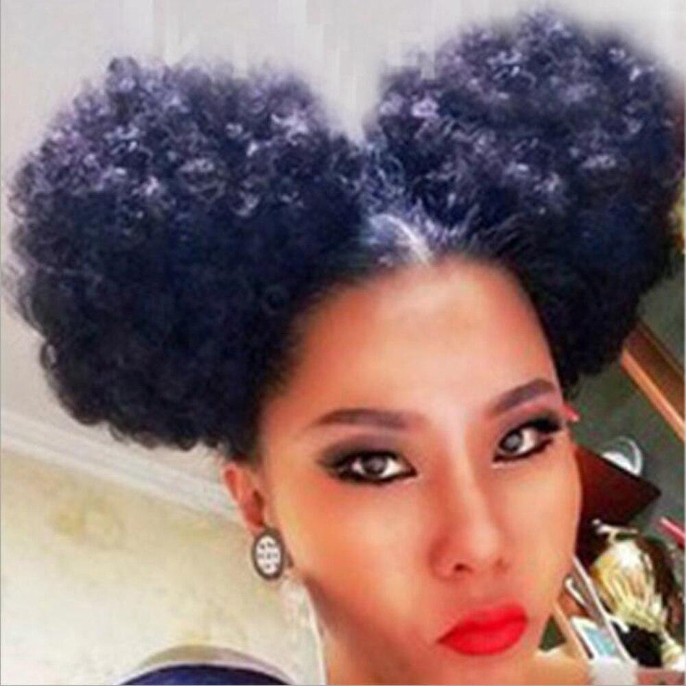 Zm duplo buns bangs puff afro encaracolado chignon peruca cordão rabo de cavalo curto afro kinky pônei cauda clip em africano