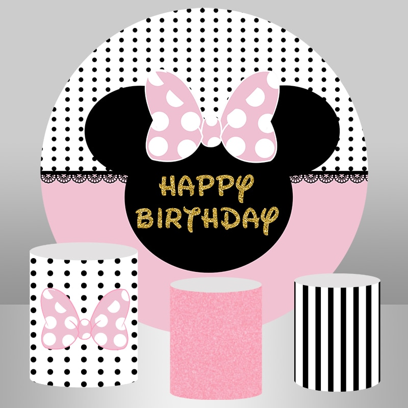 Cartoon Pink Mouse Bow Girl Birthday Backdrop for Photo Studio Round Circle Background Photography Cake Table Decoration