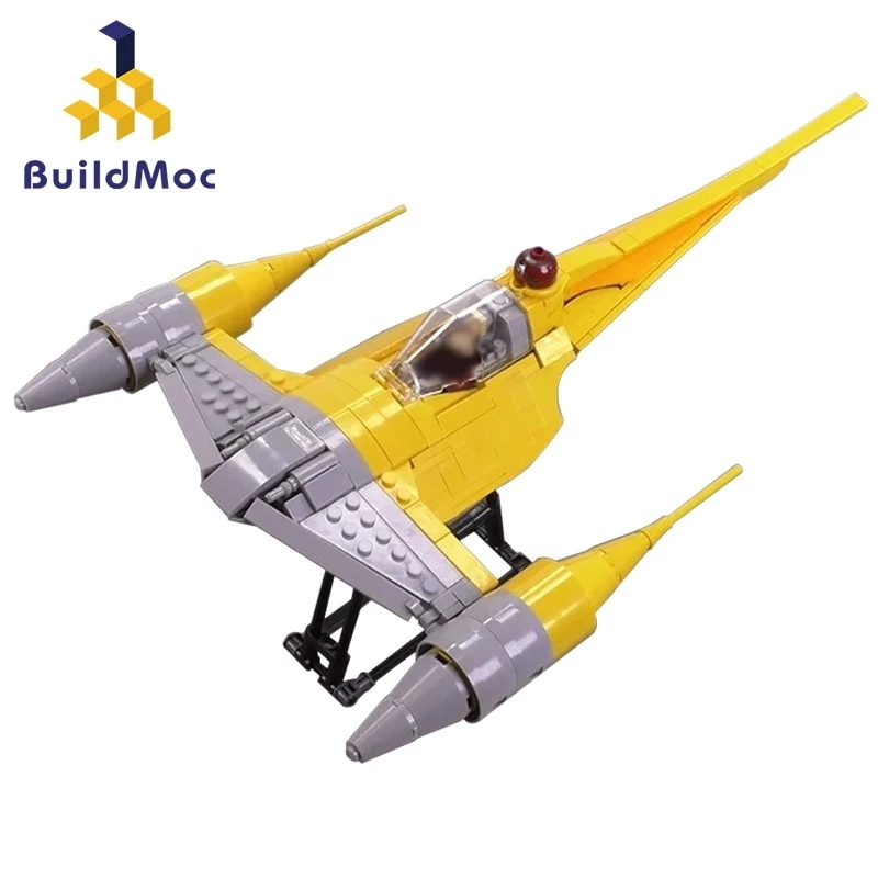 Buildmoc الفضاء الحروب الفيلم سلاح معركة سفينة الفضاء Naboo N-1 Starfighters الأصفر الطائرات البسيطة نموذج بناء كتل لعب الاطفال