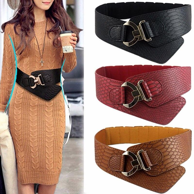 Elastic Women's Wide Belt Fashion Cinch Belt Cummerbund Suitable For Dress Coat Metal Litchi Pattern