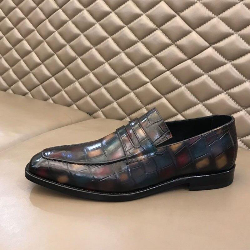 أحذية لوفر رجل خمر الرجعية جلد طبيعي اليدوية الفاخرة مكتب الزفاف فستان حفلة ماركة فاخرة أحذية خفيفة أنيقة الرجال