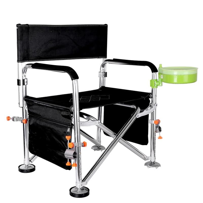 6 Hole Lifting Fishing Chair Multifunctional Outdoor Chair Foldable Table Fishing Chair Stool with Long Legs Wild Fishing Stool