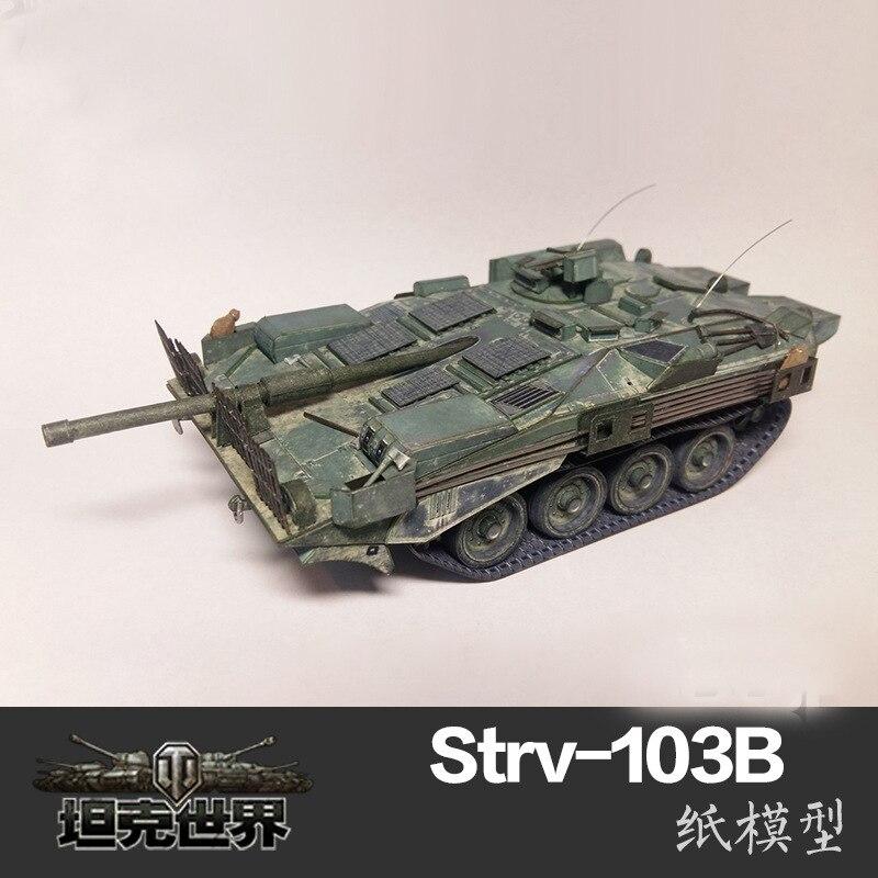 Modelo de tarjeta de papel 3D DIY Strv-103B Tank War II de Suecia, juguetes de construcción, juguetes educativos, modelo militar 135 26cm