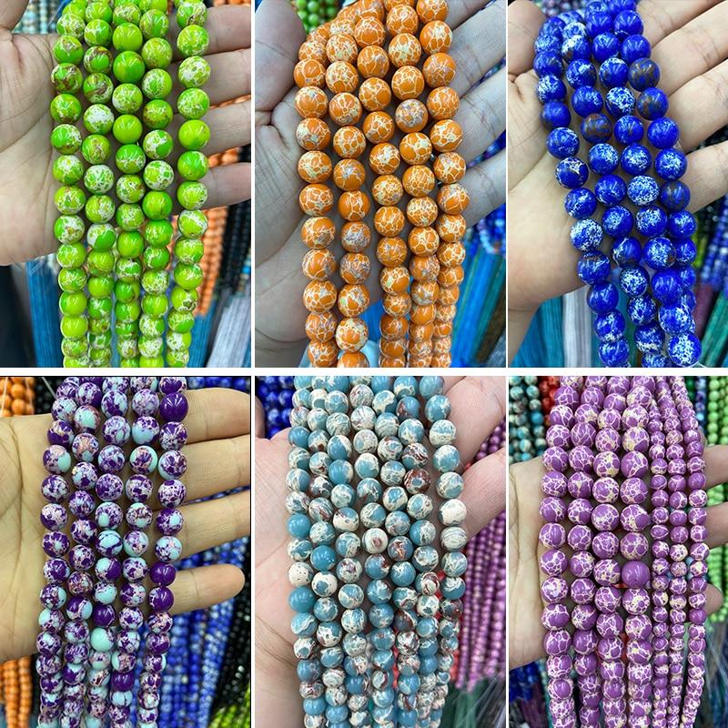 """Commercio all'ingrosso colorato viola imperiale Jaspers perline rotonde sedimenti marini turchesi gioielli in pietra che fanno braccialetto fai da te 15 """"pollici 8/10MM"""