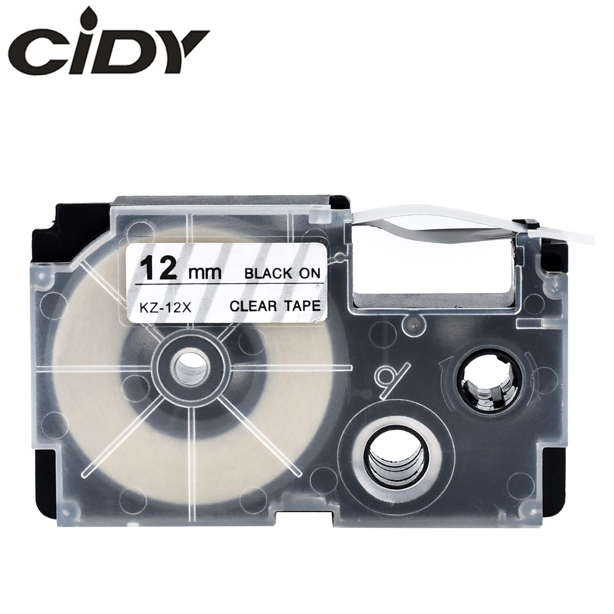 CIDY 50 Uds XR-12X Compatible con etiqueta Casio para XR12X XR 12X 12mm negro en transparente cinta etiqueta EZ impresoras KL-60L KL-120L