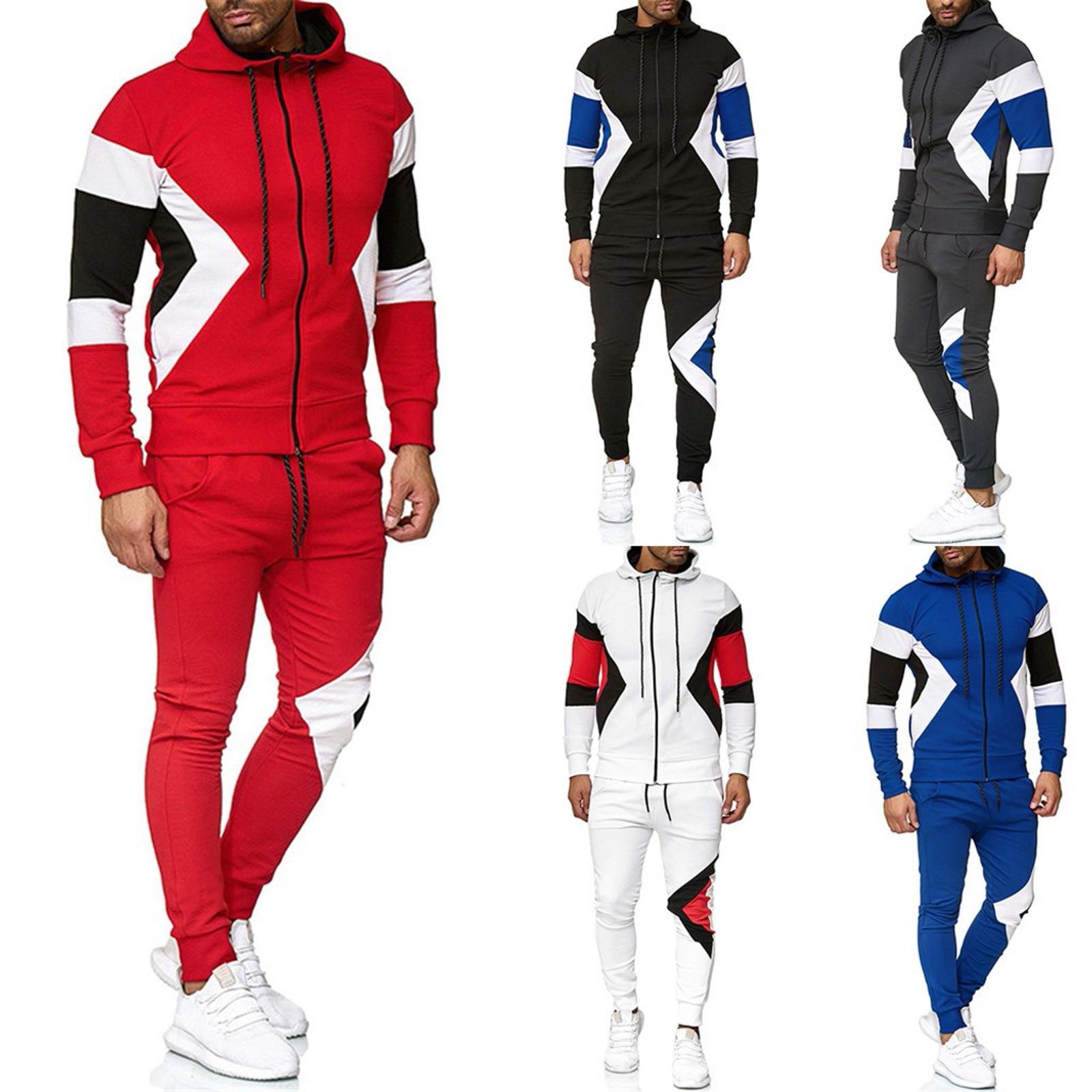 موضة ماركة الرجال مجموعة الشتاء رشاقته الدافئة رياضية الترفيه اللون المرقعة الرياضة ملابس رياضية بذلة رياضية الذكور Sweatsuit