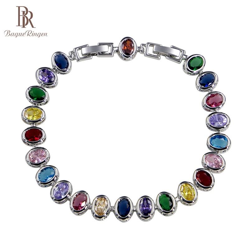 Bague ringen na moda prata 925 jóias oval pedras preciosas pulseira para mulher zircon esmeralda safira aquamarine festa presentes femininos