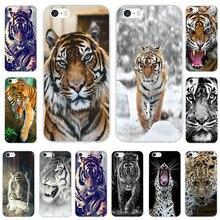 Zwierząt Tygrys Biały Nofear Wąs Paski Miękka TPU Obudowy Telefon Pokrywa dla iPhone 8 7 6 6 s Plus X 10 5 5S SE 5C 4 4S Coque Torby