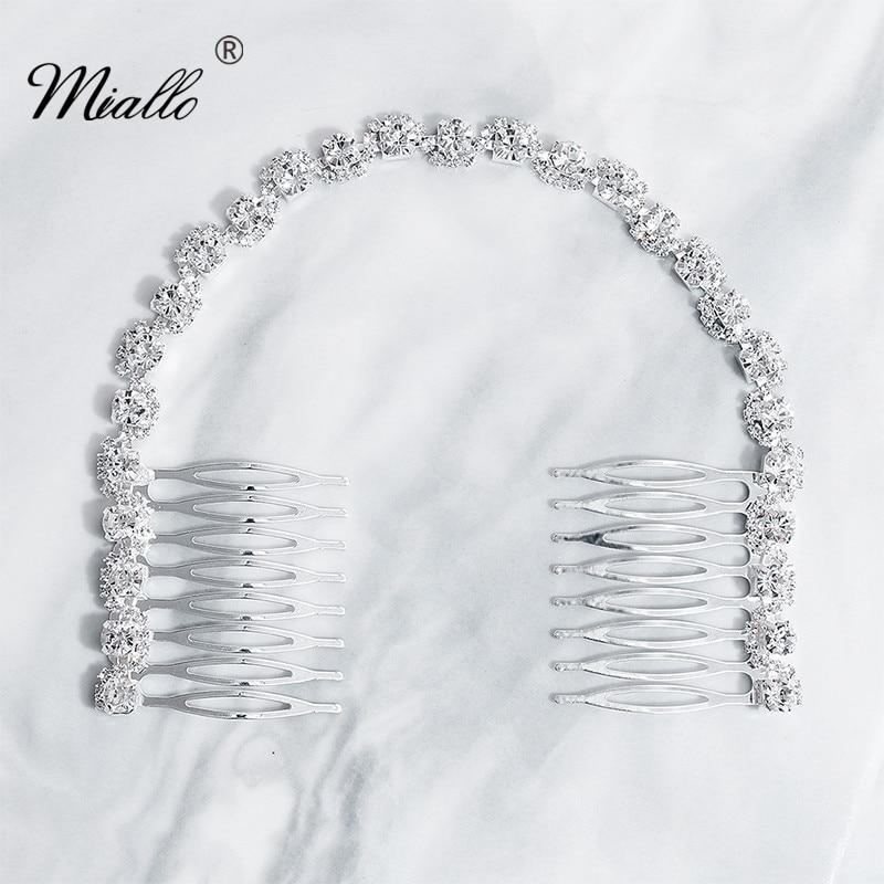 Miallo yeni düğün uzun saç tarağı gümüş renk kristal gelin saç takı aksesuarları Headpieces kadın saç klipleri
