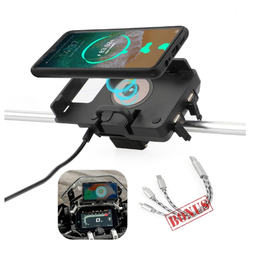 حامل هاتف محمول لاسلكي مع GPS للدراجات النارية, شاحن USB سريع ، لدراجات BMW R1200GS R1250GS F700GS F800GS F750GS F850GS CRF1000L 12 مللي متر