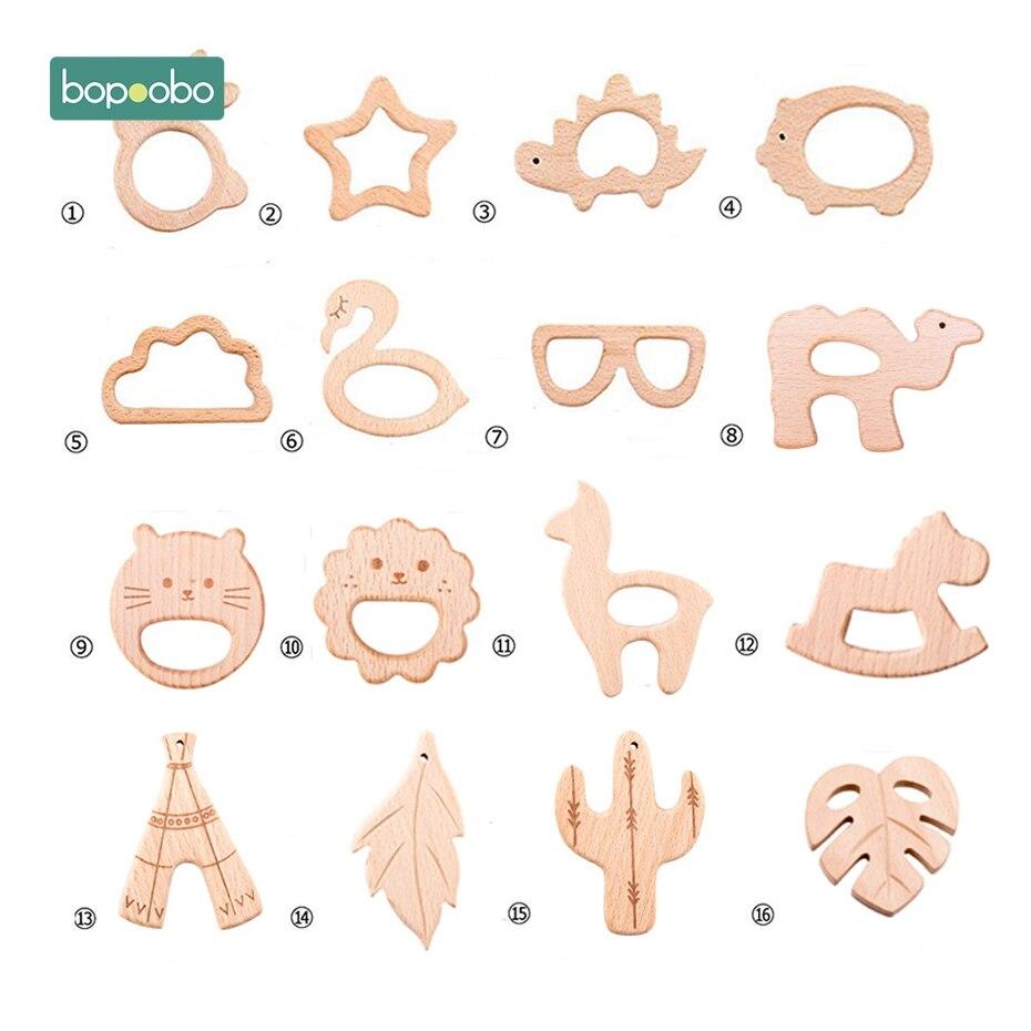 Bopoobo 1 шт. детские игрушки деревянный Прорезыватель для зубов с животными для новорожденных игровые аксессуары для гимнастики Diy Подвеска жевательные крошечные прорезыватели