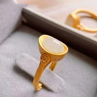 snew silver inlaid natural hetian white jade small ingot ring chinese style retro palace style opening adjustable womens ring