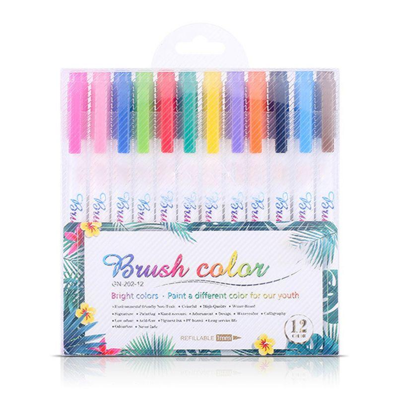12 Fluorescent Colors Calligraphy Marker Brush Pens Small Regular Script Drawing K3KB