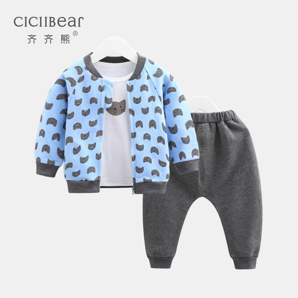 ciciibear baby boy clothing 2020 spring new kid suit children clothes baby out three-piece tide
