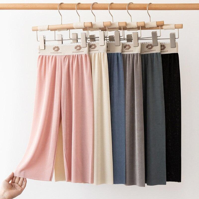 Pantalones de verano para niña, pantalón de pierna ancha de Color sólido,...