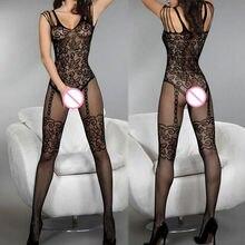 블랙 bodystocking fishnet 깎아 지른 메쉬 바디 수트 섹시한 레오타드 섹스 옷 오픈 가랑이 메쉬 꽃 새로운 뜨거운 스타킹 몸에