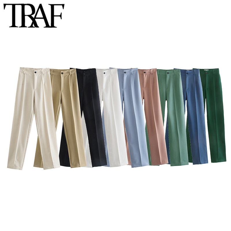 TRAF Women Chic Fashion Office Wear Straight Pants Vintage High Waist Zipper Fly Female Trousers Mujer