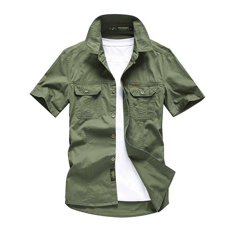 Мужская рубашка 2020, новая мужская рубашка-карго, модная повседневная рубашка, Летний стиль, 100% хлопок, однотонная, мужская повседневная руба...