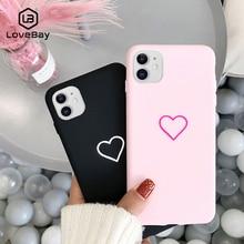 Lovebay Mooie Telefoon Case Voor Iphone 11 Pro 6 6S 7 8 Plus X Xr Xs Max Leuke Cartoon eenvoudige Liefde Hart Tpu Back Cover Cases