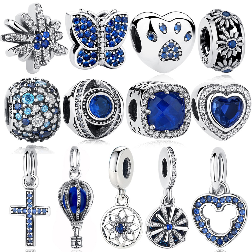 2017 crystal radiant heart sterling silver beads fit authentic pandora charms bracelet silver 925 original for jewelry berloque ELESHE Authentic 925 Sterling Silver Beads Blue Crystal Pet Paw Heart Star Daisy Charm Fit Original Pandora Bracelet DIY Jewelry