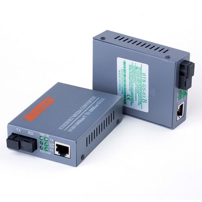 HTB-GS-03 A/B, convertidor de medios ópticos de fibra Gigabit, 1000Mbps, modo único, puerto de fibra SC, fuente de alimentación externa