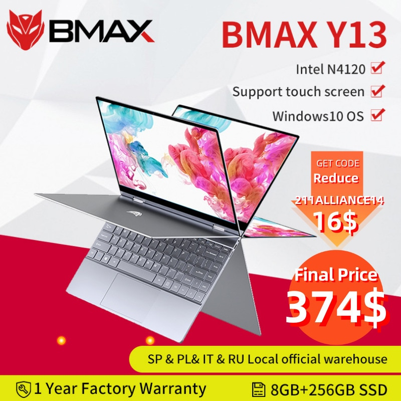 BMAX Y13 360° Laptop 13.3 inch Notebook Windows 10 8GB LPDDR4 256GB SSD 1920*1080 IPS Intel N4120 t