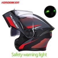 herobiker helmet moto helmet for men off road filp up helmet dual lens removable washble lining with night light led casco moto