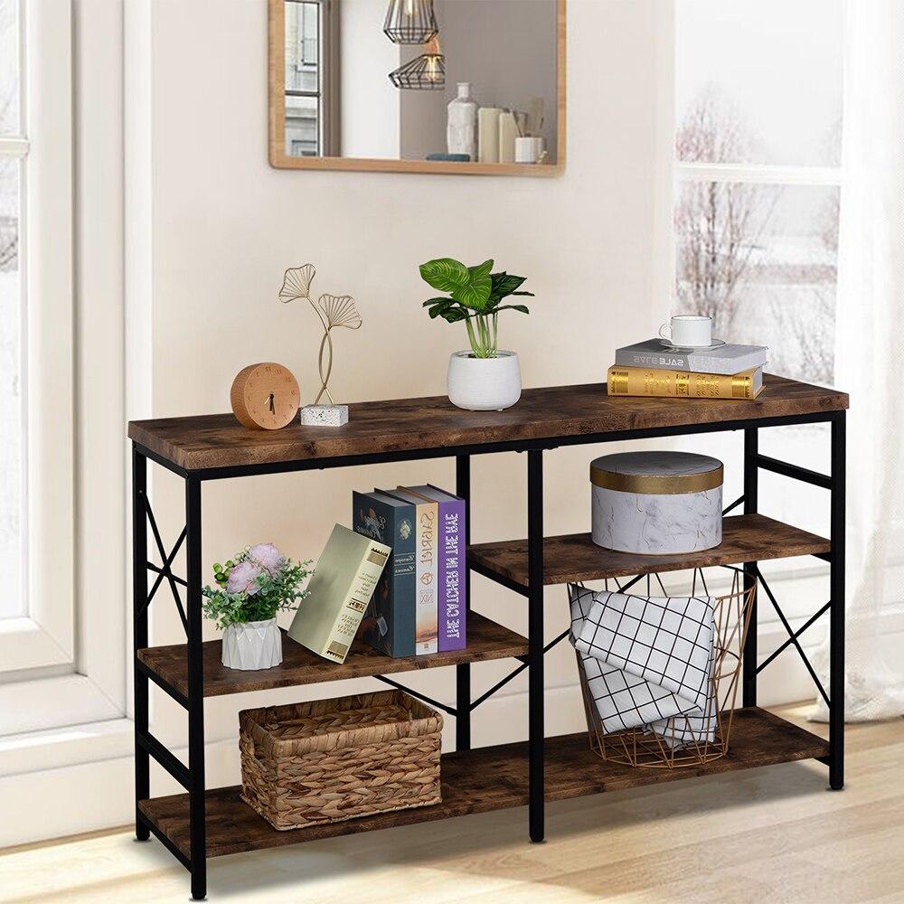 أريكة الجدول طاولة وحدة التحكم 3-الطبقة الصناعية ريفي براون المدخل/المدخل الجدول 50x13x30