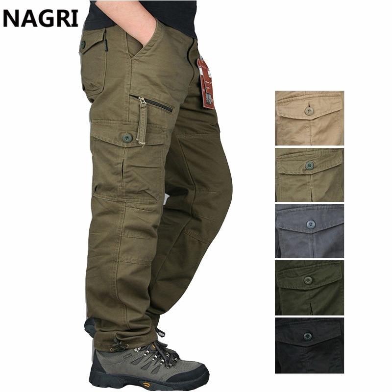 2020 Cargo Pants Men Outwear Multi Pocket Tactical Military Army Straight Slacks Pants Trousers Over