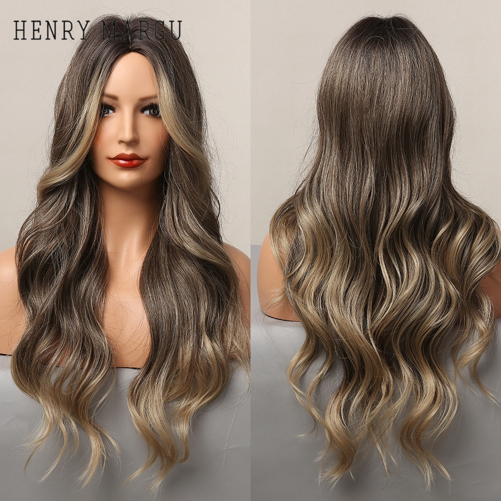 AliExpress - HENRY MARGU Long Ombre Black Brown Honey Blonde Wigs Body Wave Brazilian Synthetic Wigs for Black Women Daily Heat Resistant Wig