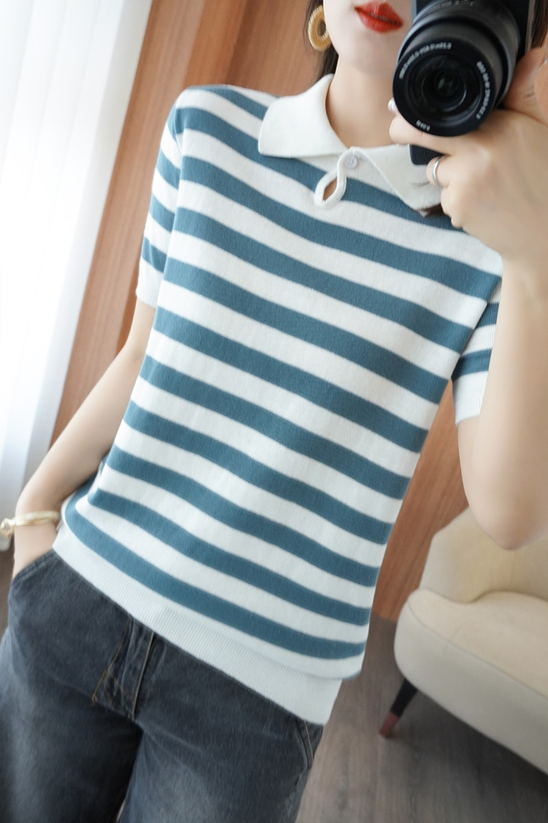 Summer Hot Sale 100% Cotton Top T-shirt Ladies Knit Short Sleeve Lapel Slim Short Pullover  21 ATTYYWS brand ladies Sweater