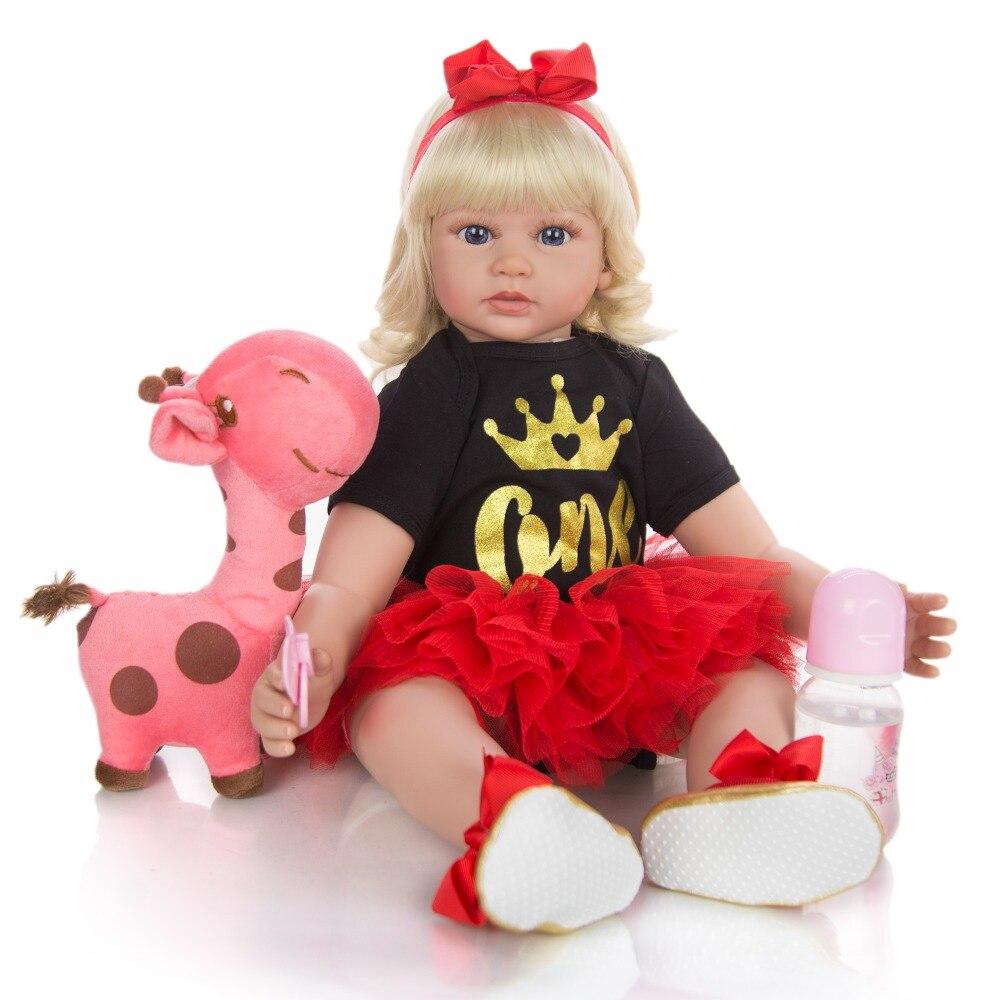 Bebe boneca reborn criança 60cm ouro cabelo silicone reborn bebê bonecas corpo macio lifelike menina natal surprice presentes da menina boneca
