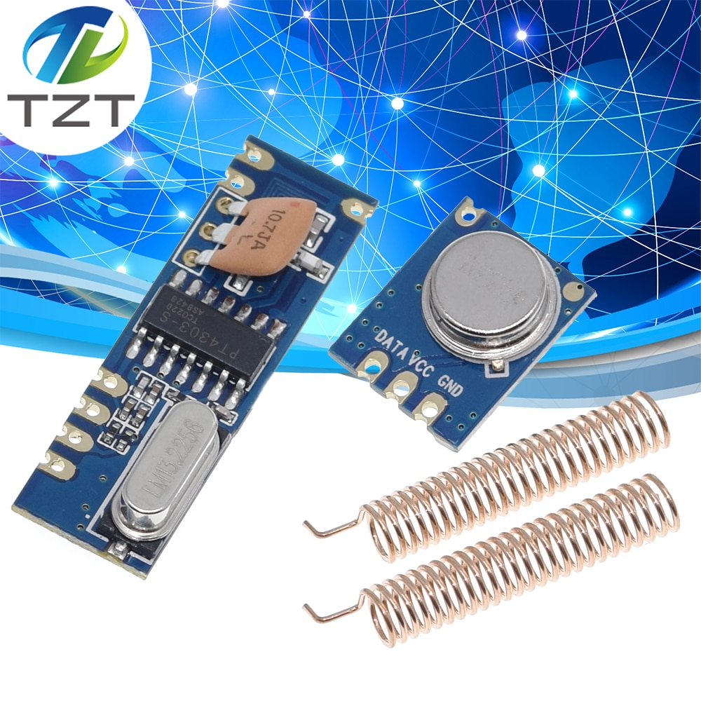 Tzt 1 conjunto 433mhz 100 metros kit módulo sem fio perguntar transmissor stx882 + pedir receptor srx882 2pcs antena de cobre da mola
