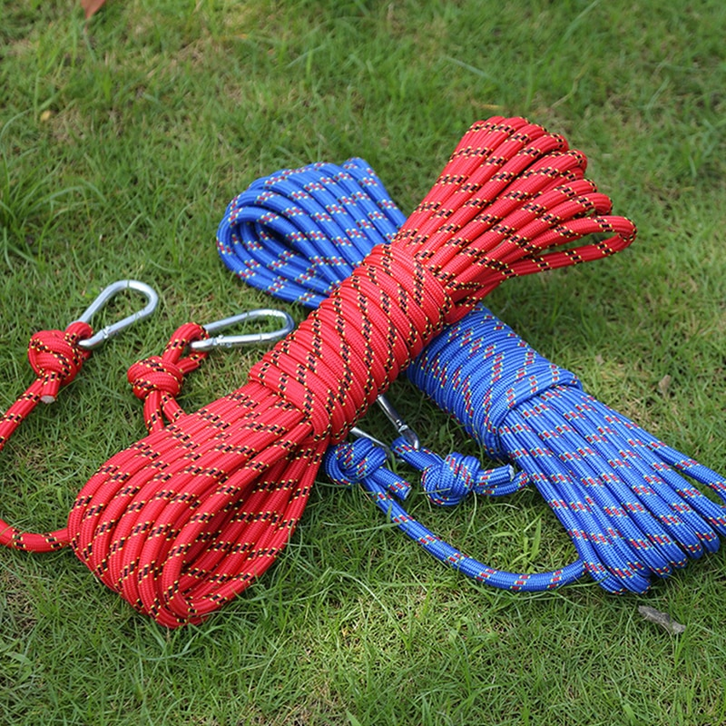 3KN Pull Force Outdoor Climb Rope 10m 10mm Emergency Rope Wear Resistant High Strength Survival Hike